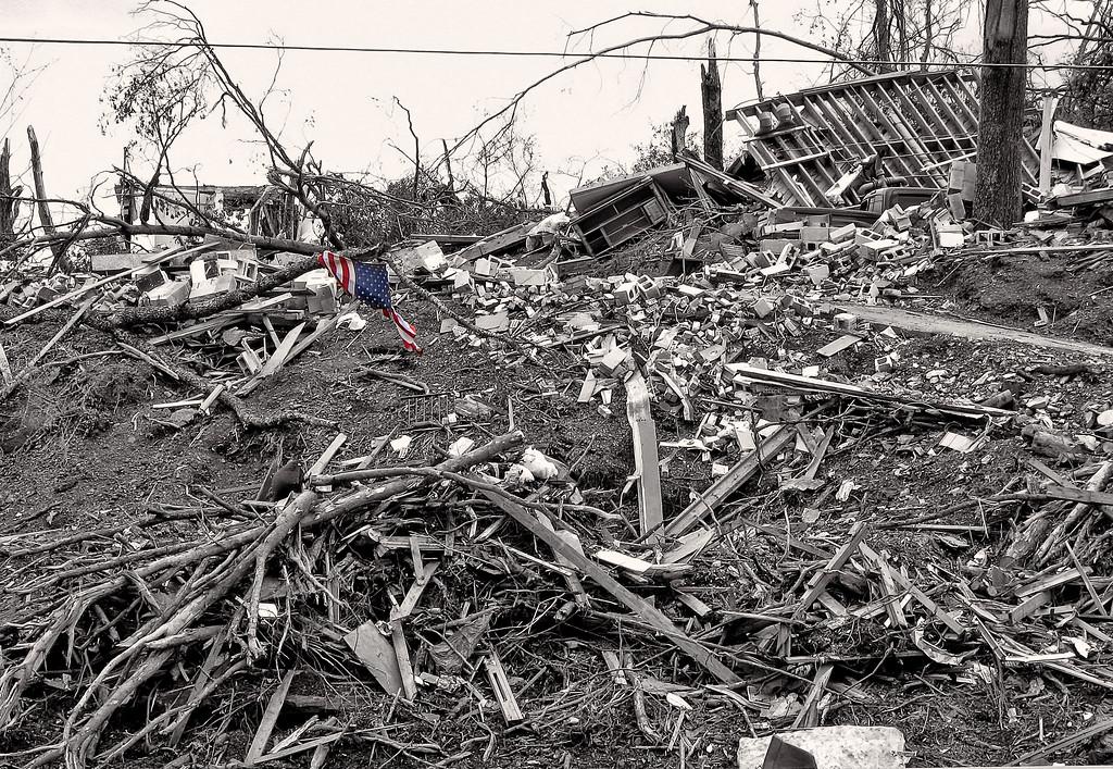 Tattered American Flag - April 2011 Jefferson County Alabama Tornado Damage