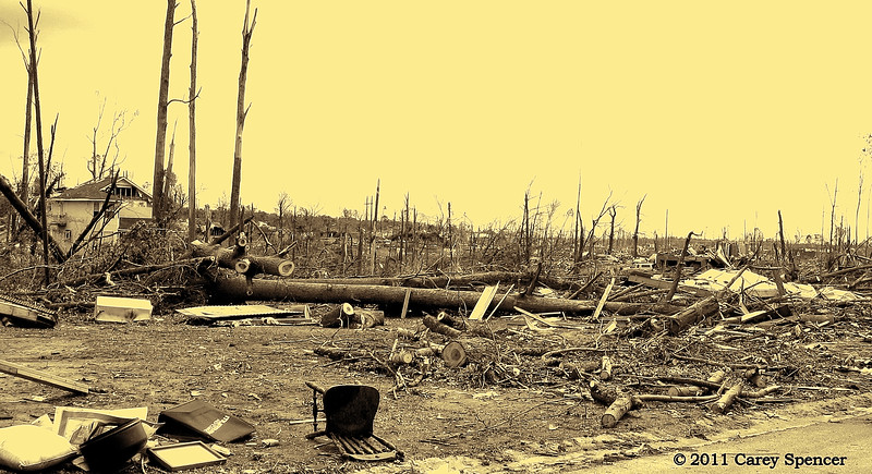 Recovery - Very little remained unscathed by the horrendous April 2011 Tornadoes in Jefferson County Alabama.  Few were fortunate to recover even a small amount of their material pre-storm life.