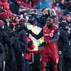 TORONTO, ON - APRIL 03, 2018: Toronto FC Scotiabank CONCACAF semi finals home match played on APRIL 03, 2018 at BMO Field in Toronto, ON., Canada. (Photo by Michael Fayehun/F10 Sports Photography)