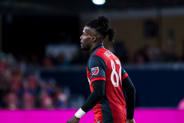 TORONTO, ON - MARCH 30, 2018: Toronto FC defeats Real Salt Lake 3-1 thanks to a Jozy Altidore brace and Tosaint Ricketts strike during MLS regular season Toronto FC home match played on March 30, 2018 at BMO Field in Toronto, ON., Canada. (Photo by Michael Fayehun/F10 Sports Photography)