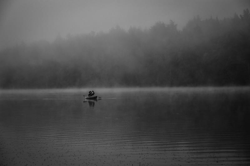 Morning mist on Blue Mountain Lake