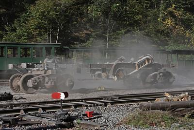 Climax frame undergoing sandblasting. October 2009