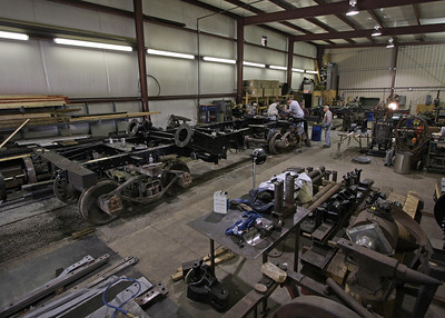 The freshly painted Climax frame sits in the Cass shop. October 2009