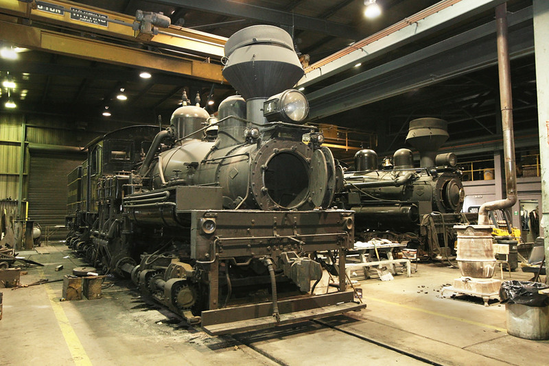 The inside of the Cass locomotive shop on a cold January weekend.