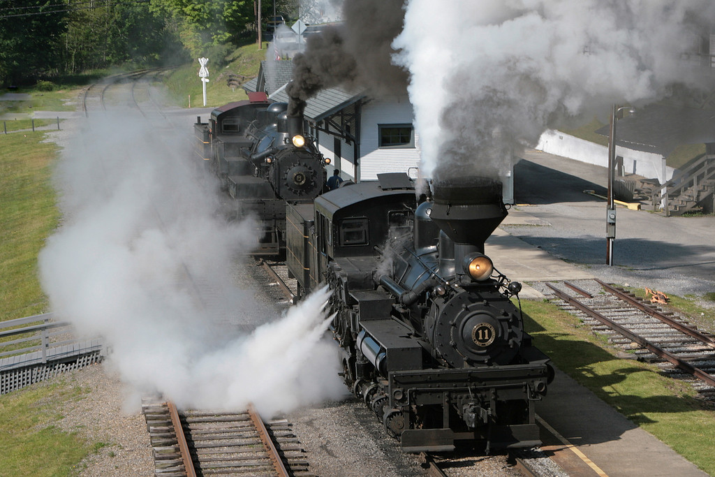 Shay #11 pulls away from the station