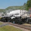 Steam Capital of America! With six locomotives in steam the Cass Scenic Railroad State Park has made geared steam history. Standing infront of each engine are the men and women that made this all possible. From Left to Right fireman Jerry Beck, engineer Brad Hoover, conductor Gene Lambert, Drew Caloccia, Shop Foreman Rex Cassell, Engineer Danny Seldomridge, fireman Chris Lambert, fireman Amy Beck, engineer Dirk Caloccia, engineer Chris Waybright and boilermaker/fireman Dave Weik.