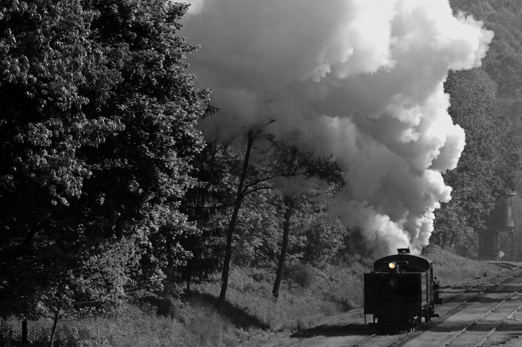 Ex- Meadow River Lumber Co. Heisler #6 heads back to the locomotive shop after the big photo shoot.