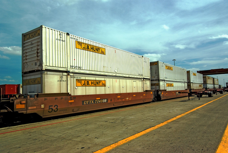 JBH Intermodal rail containers ready for chassis attachment