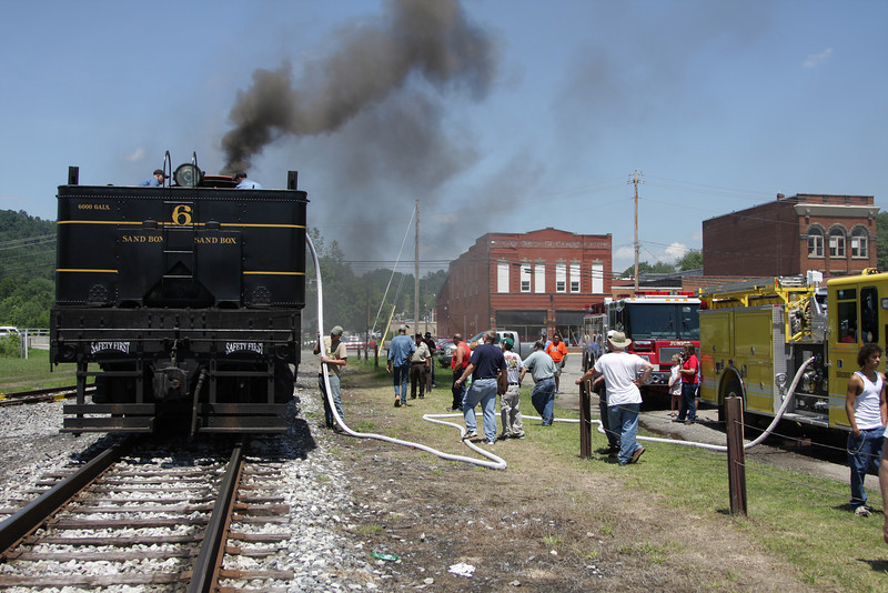 Shay #6 receives water from both the Belington and Junior Fire Departments at Belington, WV. A big thanks to all of the fire departments which helped thoughout the weekend, without there help this trip would not have been possible.