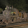 Shay 6 simmers on the Cass coal dock siding on a Monday evening. Lighting provided by Tim Martin.