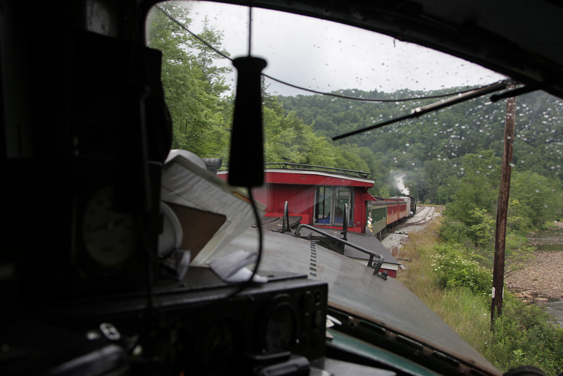 The engineers view from former Western Maryland BL2 #82 as we pull into the former Linan Mine site for a servicing stop.