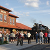 Hundreds of people gather at the Elkins Depot to welcome Shay #6 after its historic trip from Cass. This is the first time that Elkins has seen a steam locomotive in over 30 years.