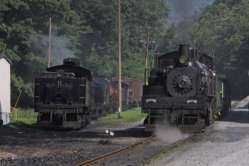 Western Maryland #6 switches in the yard on tuesday morning as Shay #11 is prepared for the days runs to Whittaker.