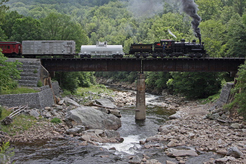 Big Six crosses the High Bridge over the Cheat River.