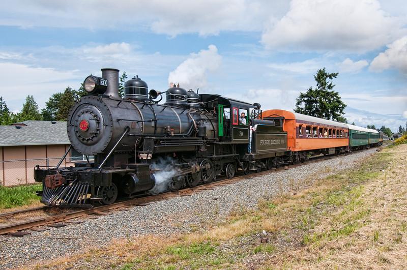 Mt Rainier Scenic Railroad 2-8-2 #70 pulls a special excursion in Tacoma, WA