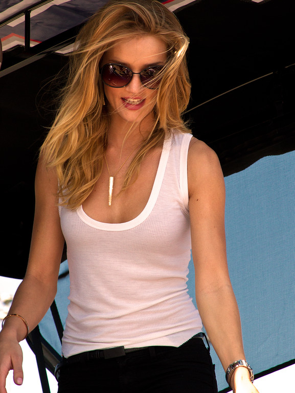 Beautiful British model Rosie Huntington-Whiteley and Transformers 3 Star visits pit road during the 2011 Daytona 500