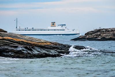 Ferryboat Framed in Rock Formations