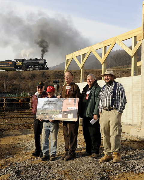 <B>Phoenix Rising:  Helmstetter Farm Fund Check Presentation 11/9/2009.</B>  L to R:  Frank Fowler (WMSR General Superintendant), John Helmstetter, and Carl Franz, Bill Lardusky & Steve Barry (Helmstetter Farm Fund Committee)