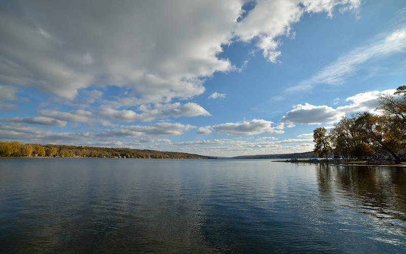 Looking south from the dock at Long Point Park on Conesus Lake.  Nikon D600 and Samyang 14mm lens (October 2014).