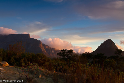 Table Mountain and Lion's Head at dusk....