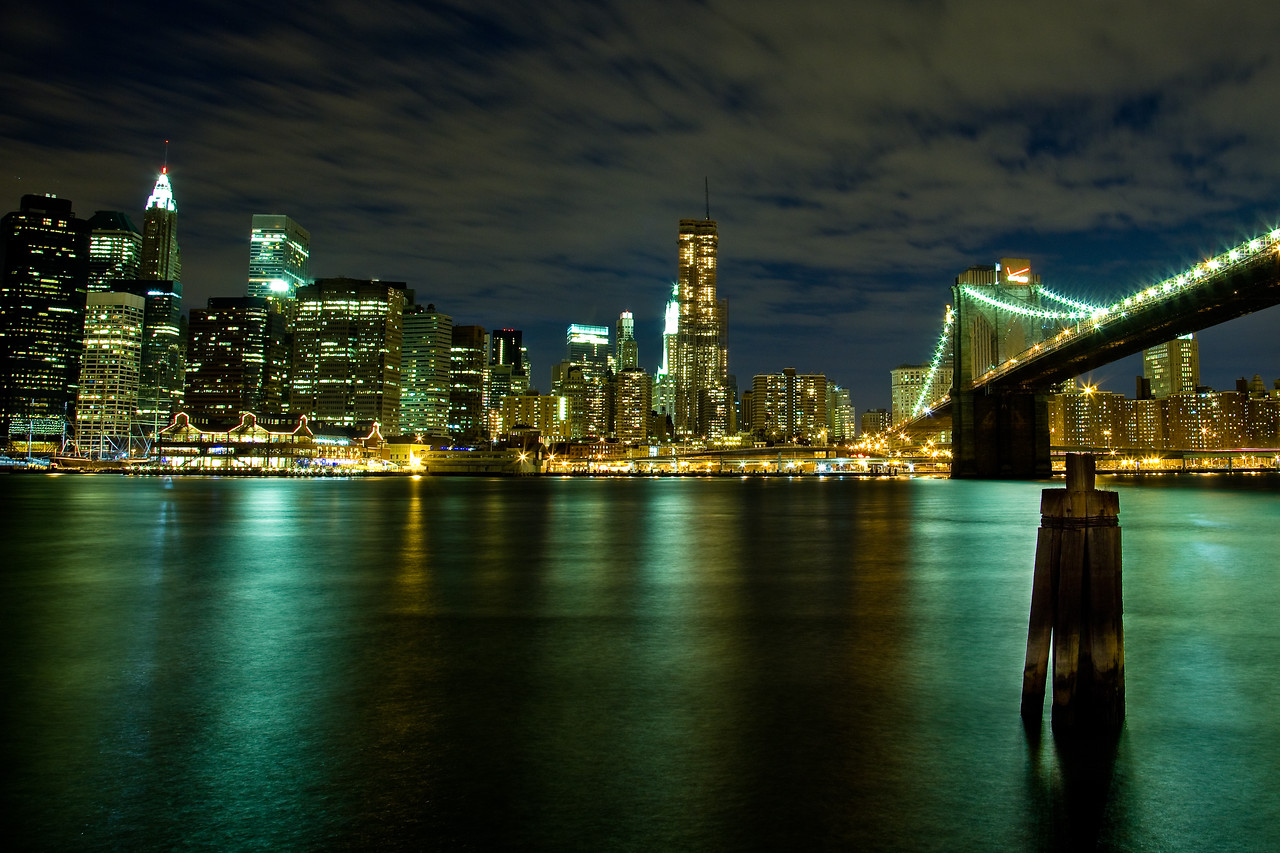 Brooklyn Bridge and the South Street Seaport from DUMBO