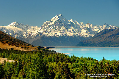 Majestic  © 2007 Colleen M. Griffith. All Rights Reserved.  This material may not be published, broadcast, modified, or redistributed in any way without written agreement with the creator.  This image is registered with the US Copyright Office. Mt. Cook and Lake Pukaki, New Zealand www.colleenmgriffith.com www.facebook.com/colleen.griffith