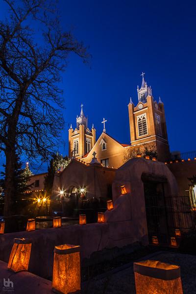 San Felipe de Neri Parish in Old Town Albuquerque on Christmas Eve.