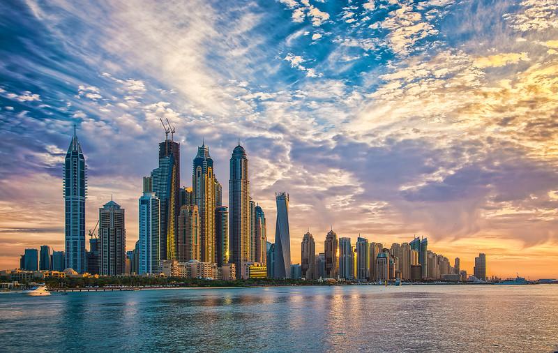 Dubai Marina at sunset
