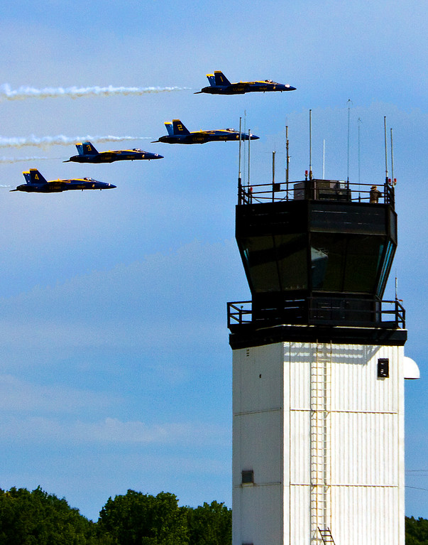 Blue Angels pass by Tuscaloosa Control Tower