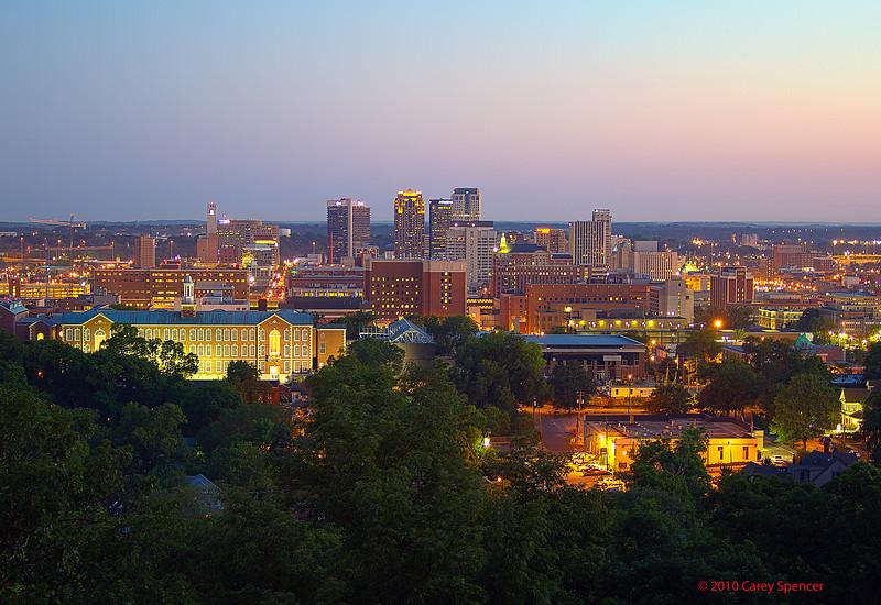 Birmingham, Alabama Skyline right before dawn.