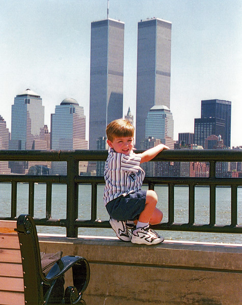 My son in front of World Trade Center before 9/11 attacks on the twin towers.