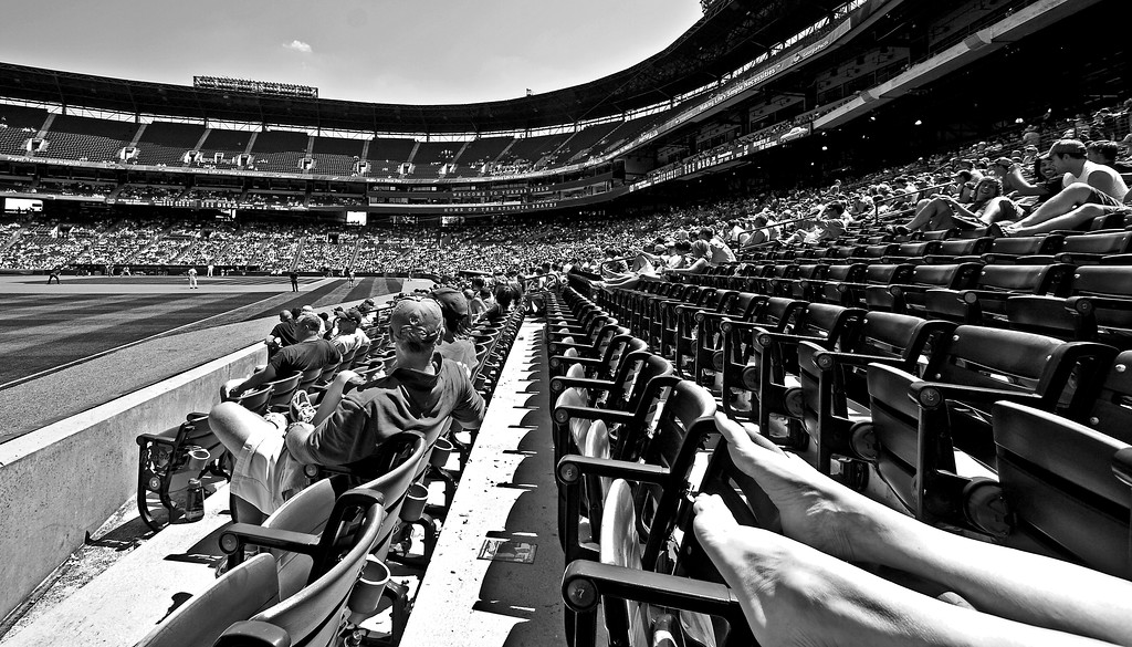 Footnote from Turner Field Atlanta black and white photography