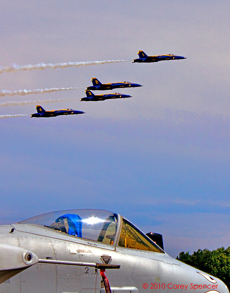 F18 Blue Angels with A10 in foreground