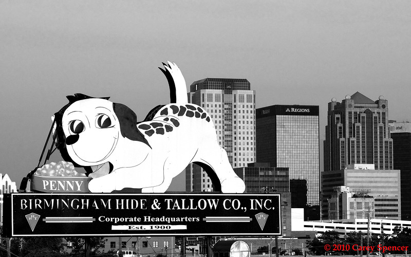 Black and White Photograph Birmingham Alabama Skyline with Birmingham Hide and Tallow Co., Inc. sign in foreground