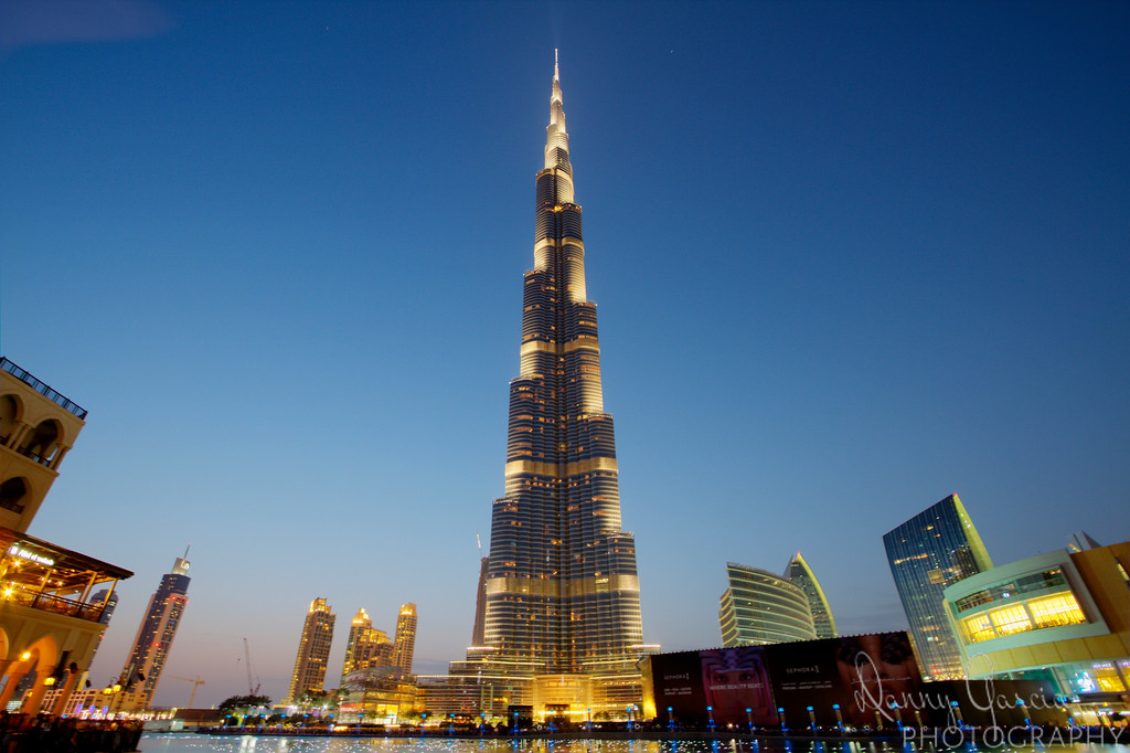 Burj Khalifa (Khalifa Tower) is the tallest building in the world.  It stands at 2,722 feet (829.8 meters) and is in the heart of Dubai, United Arab Emirates.