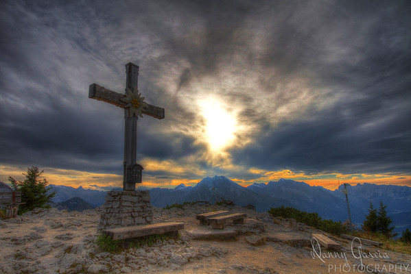 A Cross at Kehlsteinhaus - Sunset at Eagle's Nest at Obersalzberg in Berchtesgaden, Germany