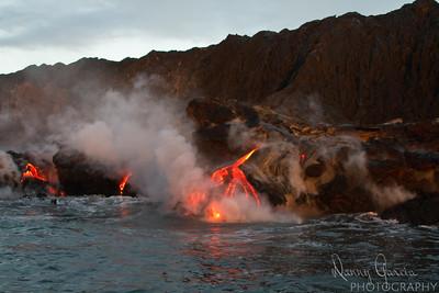 Lava Flow into the Ocean