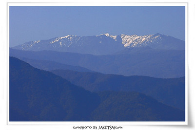 玉蘭茶園觀景台 遠眺南湖大山殘雪