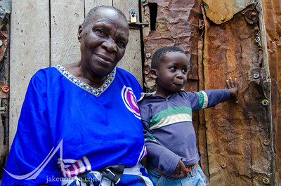 A grandmother with her grandson in Mathare, a slum and home to 500,000 people in Nairobi, Kenya.