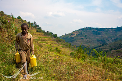 A young boy carries two jerrycans of safe water from a small, protected spring in Nyankenke, Kisaro Sector, Rulindo District, Rwanda.
