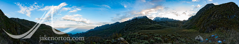 Panorama of Camp 4 on the Kilembe Route to Mount Stanley in the Rwenzori Mountains, Uganda.