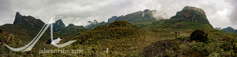 Looking down the Kilembe Trail in the Rwenzori Mountains of Uganda.