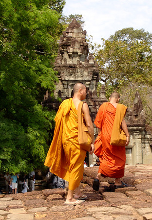 monks on the Terrace of the Leper King, Angkor Thom