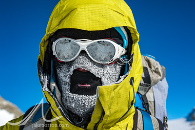 A cold morning for Caroline George high on Vinson, Antarctica.