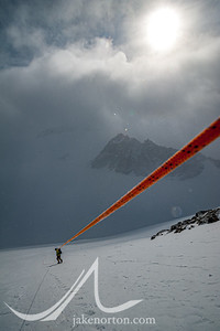 Peter Whittaker descends the fixed lines after carrying to High Camp on Mount Vinson.
