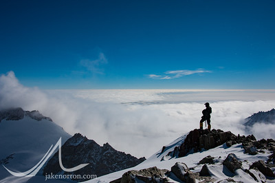 Kent Harvey enjoys the view from high camp on Vinson.