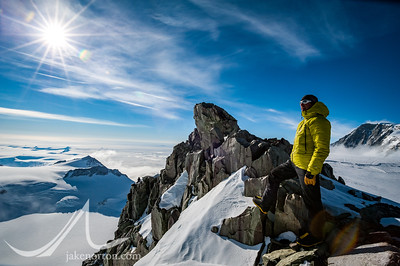 Peter Whittaker surveys the view from Vinson high camp, Antarctica.