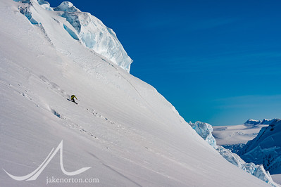Seth Waterfall finding some great Antarctic snow above the Branscomb Glacier near Vinson Massif, Antarctica.