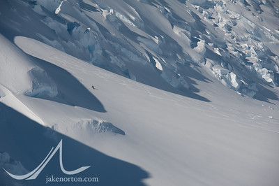 Peter Whittaker making tracks on the Branscomb Glacier near Vinson Massif in Antarctica.