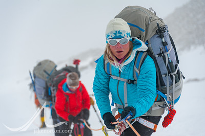 Caroline George makes her way up the fixed lines on Vinson Massif, Antarctica.